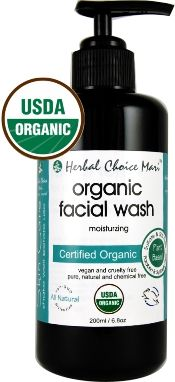 """<h1> Moisturizing Organic Facial Wash for All Skin Types</h1> <h2> Without Skin Irritants like Sodium Benzoate or Sulfates</h2> <p class=""""inner-txt""""> - Certified USDA Organic<br /> - Cruelty-free, vegan and vegetarian<br /> - Free of gluten, soy, dairy, NO GMO<br /> - Packaged in a special violet glass bottle<br /> - Without SLS,..."""