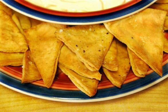 Soft fried pita chips!!!!! https://persiankitchen.wordpress.com/2009/06/06/pita-chips-with-sea-salt-pepper/