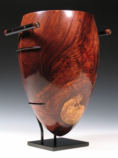 "ARTIFACT SERIES ""AMPHORA"" Mark Nantz Honduras Rosewood Burl with Ebony, Silver and 14K Gold - Steel Stand - 11.5"" tall x 8.25"" wide x 7.50"" deep - $8500.00 - AVAILABLE"