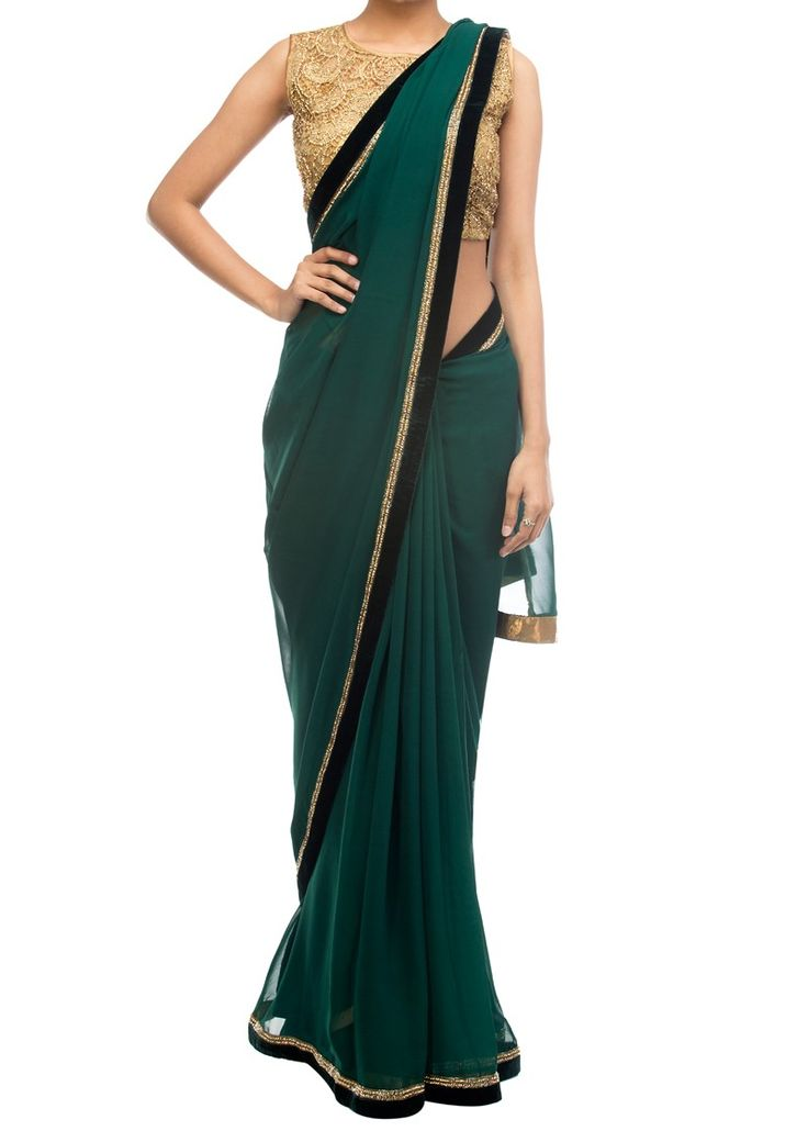 Emerald green saree with gold embellished blouse - Sarees - Apparel
