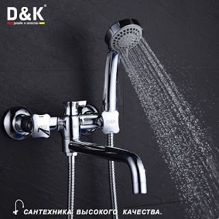 D&K DA1383301 High Class Bathtub Faucet with Hand ShowerDual handle Chrome Finish Copper in the bathroom hot and cold mixer (32795711529)  SEE MORE  #SuperDeals