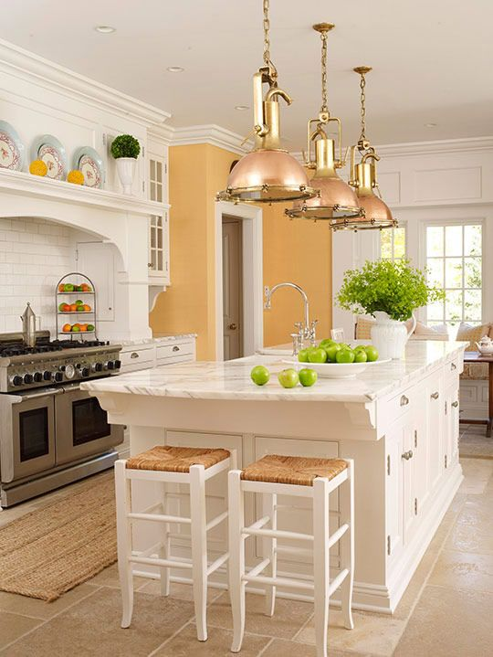 White kitchen cabinets and marble with yellow walls for Blue kitchen cabinets with yellow walls