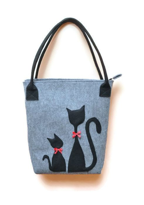 Felt Handbag, bag with cat, felt bag, grey bag, blac, grey, christmas gifts