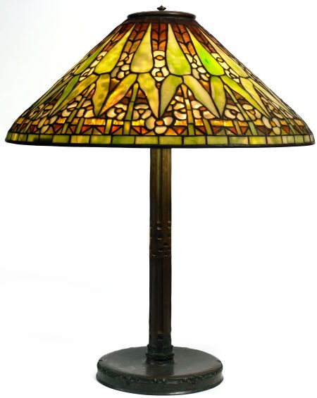 Tiffany Studios Arrowroot Table Lamp Bronze Lamp Base With