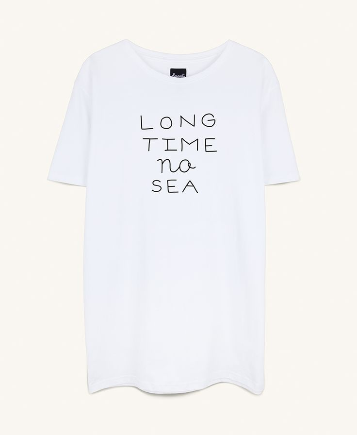 Long time no sea white T-shirt from make waiting pleasant Copenhagen now on lokalshirt.com