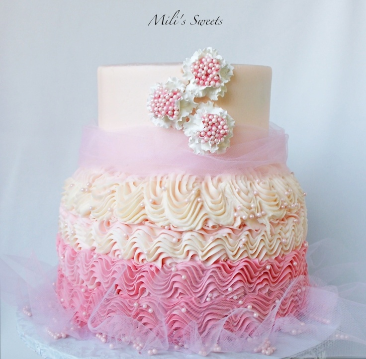Birthday Cake Designs On Pinterest : ballerina birthday cake with piped butter cream, tulle and ...