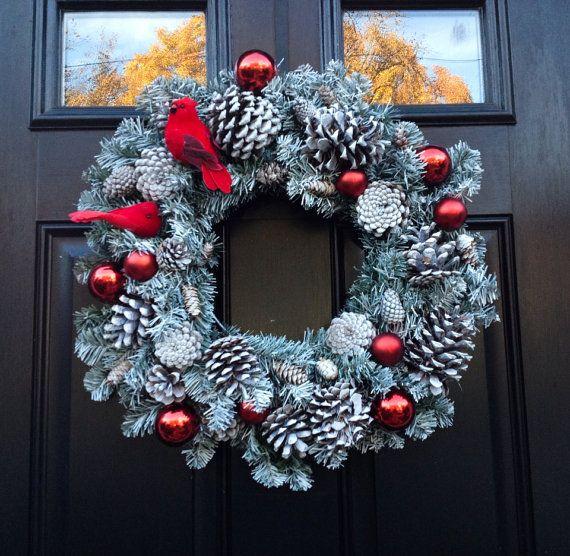 Pine Cone Wreath- Cardinal Wreath- Winter Wreath- Christmas Wreath- White Wreath