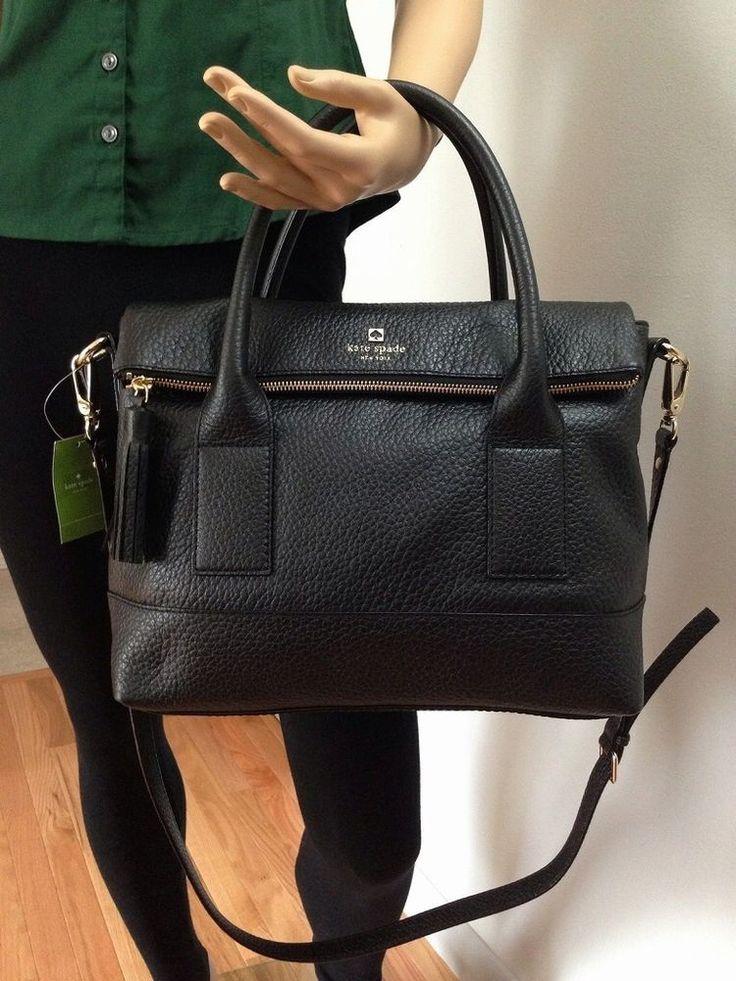 NWT Kate Spade SOUTHPORT AVENUE CARMEN Leather Bag Black Satchel Crossbody #katespade #Satchel