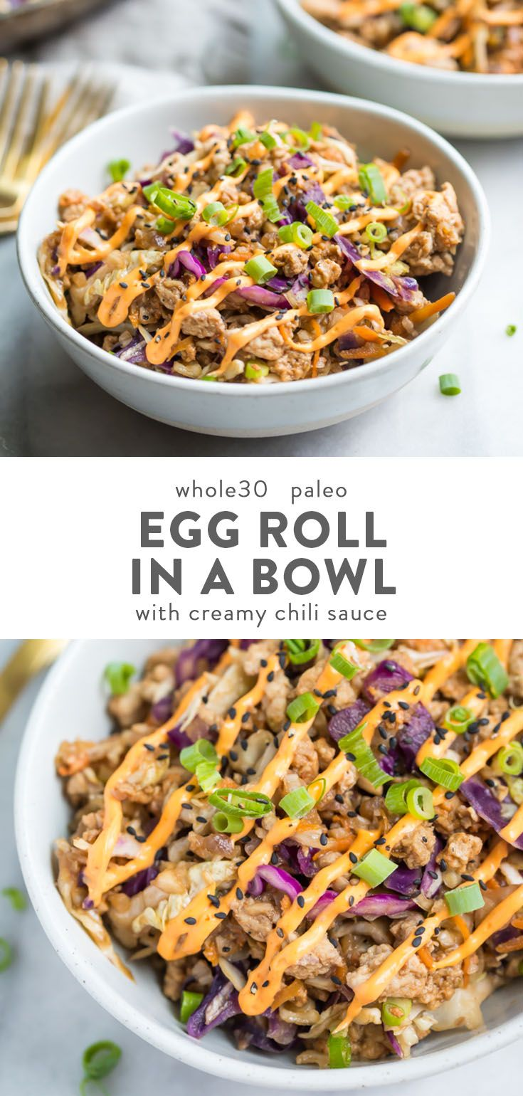 This Whole30 egg roll in a bowl with creamy chili sauce is a wonderfully flavorf...