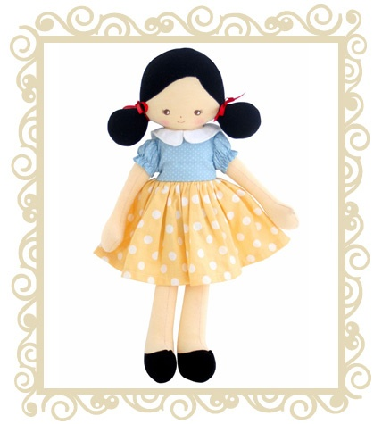 $48.95 http://www.buttonbaby.com.au/shop/alimrose-designs-snow-white-doll-p-904.html - Snow White Alimrose Designs.  Gorgeous Snow White doll with bows in her hair and sweet black shoes!  Approx 36cm.