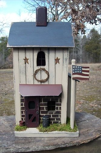 Vintage Folk Art Saltbox Primitive Americana Farmhouse Birdhouse Cabin Lighted