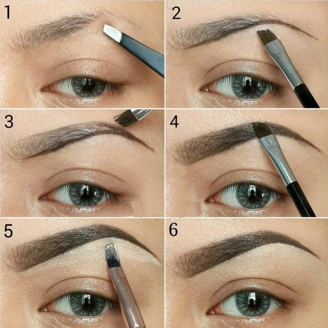 Как красить брови: фото пошагово