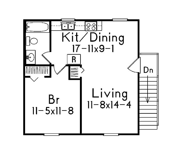 2 Car Garage Apartment Plan Number 87896 with 1 Bed, 1 Bath