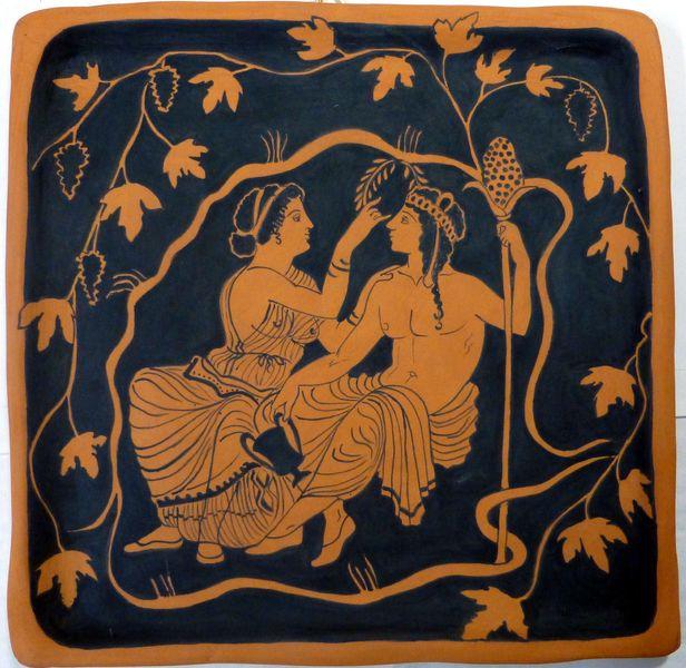 Dioniso e Arianna. Copia da ceramica greca. di MITOlibertyW su DaWanda.com #greekpottery copy on terracotta #tile #dionysos #Ariadne