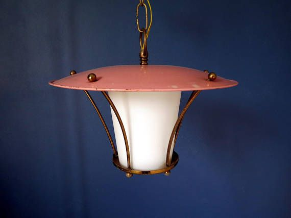 A mid century Italian pendant lamp, lantern shape. Enameled metal hat and opal white glass diffuser, five polished brass arms. Brass chain and canopy. Timeless design made in Italy in the 1950s. A touch of pink for your kitchen, entryway, bathroom.  Height with chain and canopy: 25.4