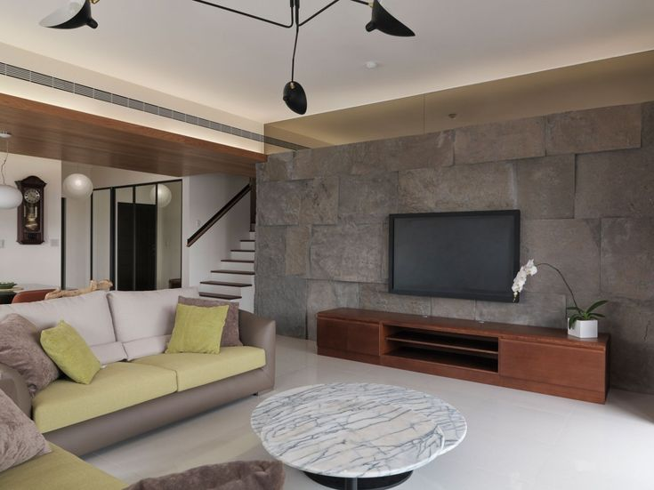 Comfortable Contemporary Living Room Marble Floor