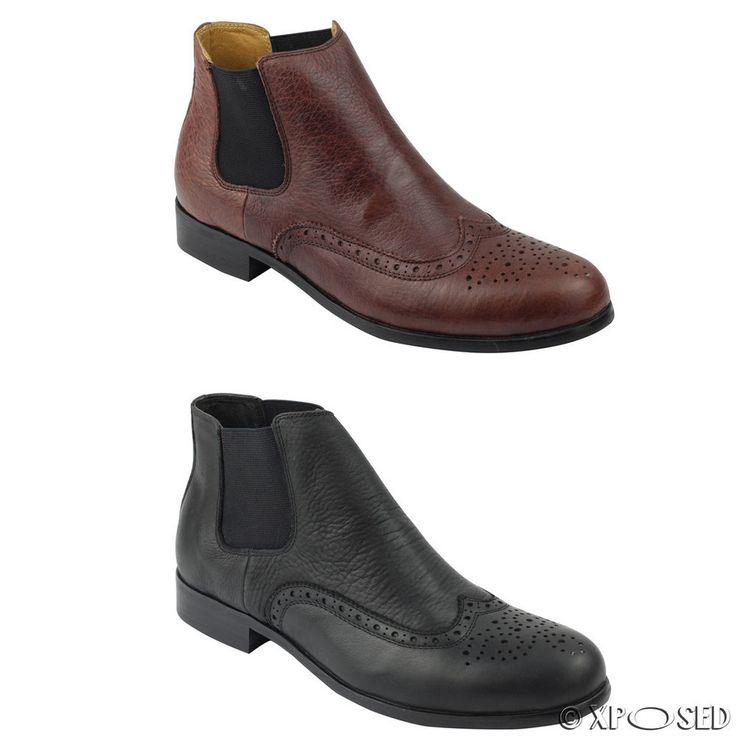 Men's Real Leather Black & Brown Vintage Chelsea Ankle Boots Smart Dealer Shoes
