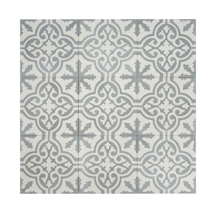 Marockanskt kakel Fès är en vacker, torrpressad cementplatta med klassiskt marockanskt mönster i vitt och ljust grå. Kan användas både inomhus och utomhus.