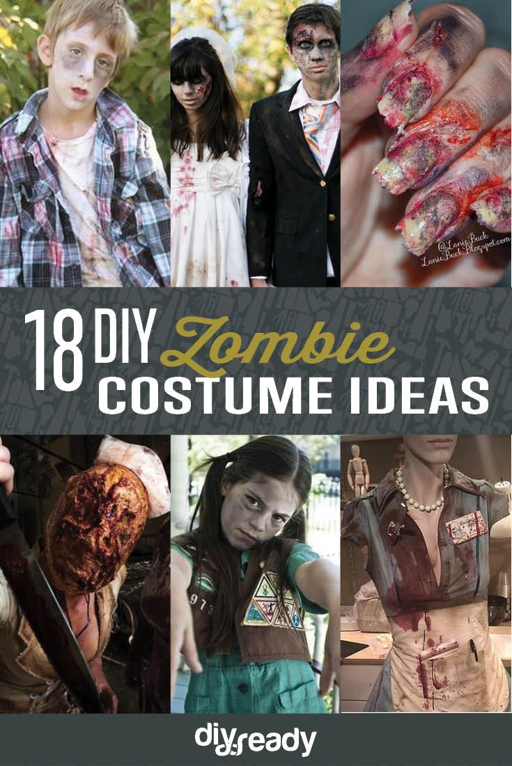 18 DIY Zombie Costume Ideas | Halloween Party Ideas by DIY Ready at http://diyready.com/18-diy-zombie-costume-ideas/