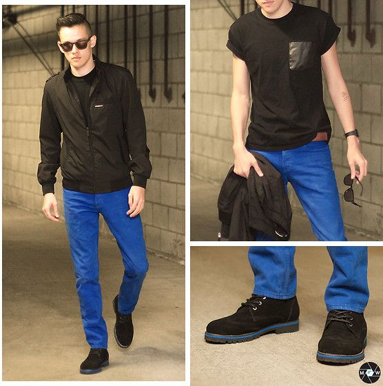 Topman Black Roller Tee With Pu Pocket, Asos Wayfarer Sunglasses With Gold Mirror Lens, Member's Only Iconic Racer Jacket, Hollister Co. Skinny Jeans, Casio Resin Digital Watch, Nautica Suede Boots With Wingtip Stitching