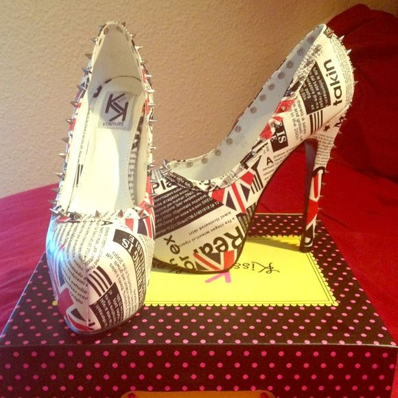 Kiss Kouture platform heels Brand new, never been wore platform heels...news paper print with silver studs down heel and along the opening of the shoe . Shoes Heels