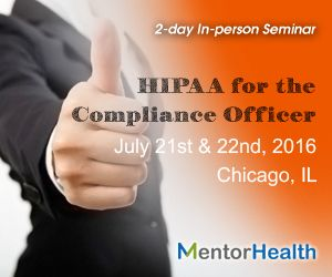 I will be going into great detail regarding you practice or business and how it relates to the HIPAA Security/Privacy Rule,  Areas covered will be history of HIPAA, privacy vs security, business associates, changes for 2016, audit process, paper based PHI, HIPAA and suing, texting, email, encryption, medical messaging, voice data and much, much, more  http://www.mentorhealth.com/control/globalseminars/~product_id=200076SEMINAR