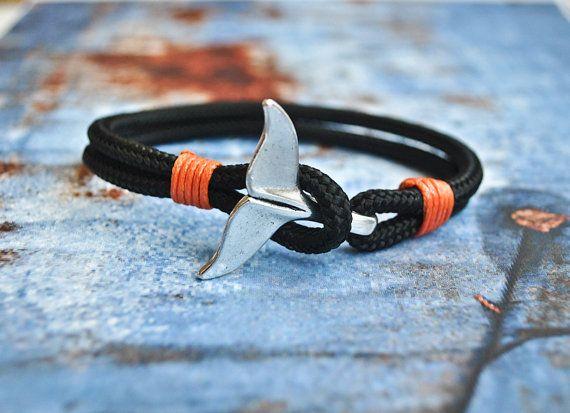 Black whale tail mens paracord nautical bracelet | nautical wristband | nautische armband | pulsera hombre | dolphin tail bracelet