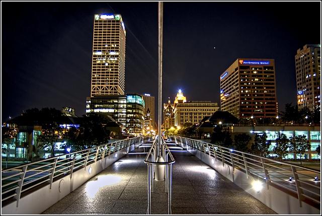 Milwaukee Skyline From Art Museum Pedestrian Bridge