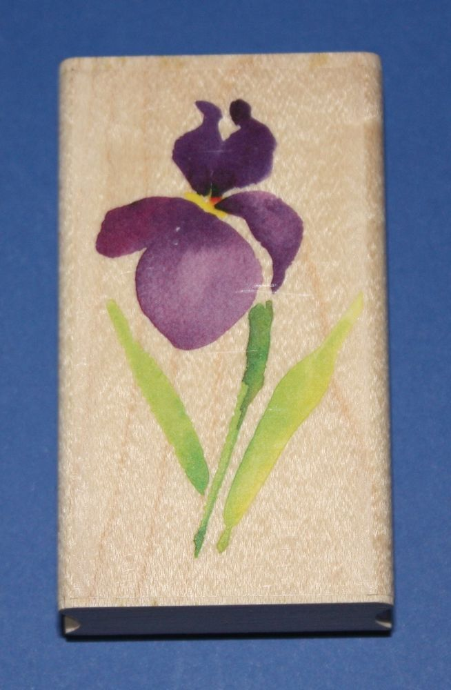 NEW Inkadinkado  Siberian Iris  Wooden Backed Rubber Stamp 97809LL