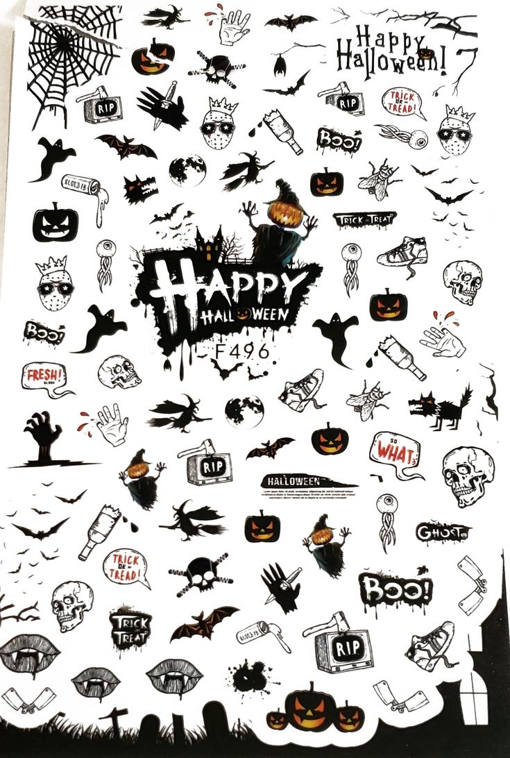 Over 50 Halloween Nail Stickers - Pumpkin - skull - words ...