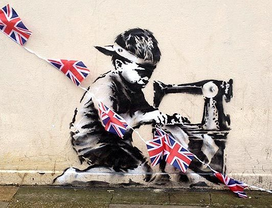 A new piece of street art purporting to be from graffiti artist Banksy has appeared on a London street in what could be a dark commentary on the Queen's Diamond Jubilee celebrations.