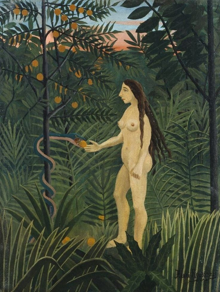 Eve in Earthly Paradise. Oil on canvas, by Henri Rousseau, 1906/07, Hamburger Kunsthalle
