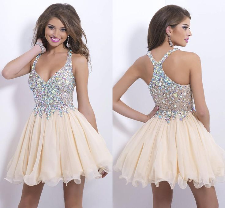 Wholesale Bling Homecoming Dresses - Buy Bling Short Daffodil Homecoming Dresses Shiny Rhinestones A-line Chiffon Lace Corset Prom Cocktail Graduation Gowns Dress Cheap, $74.46 | DHgate