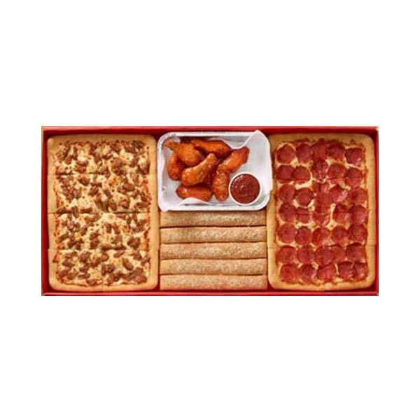 """Pizza Hut's New Big Dinner Box Aims to """"Please a Crowd"""" ❤ liked on Polyvore featuring food, food and drink, food & drinks, fillers and food // drinks"""