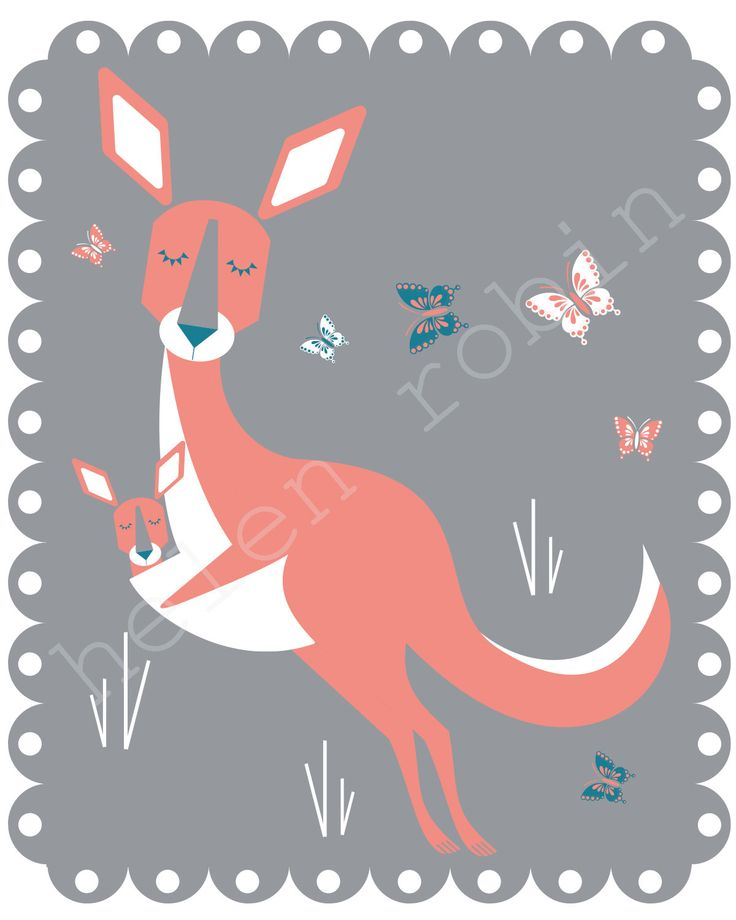Kangaroo Illustration 8x10 Kids Print by helenrobin on Etsy, $20.00