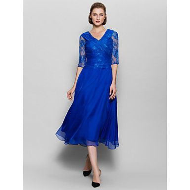 A-line+Mother+of+the+Bride+Dress+-+Royal+Blue+Tea-length+Half+Sleeve+Chiffon+/+Lace+–+USD+$+107.99