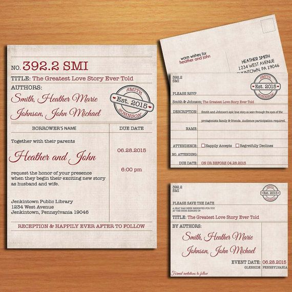 Library Card Wedding Invitation Collection Printable Book Card
