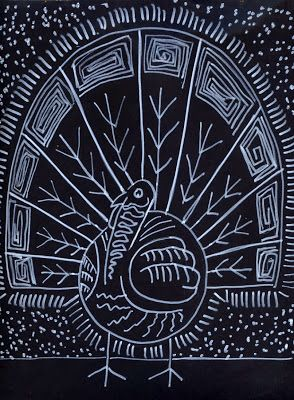 Art Projects for Kids: White on Black Turkey