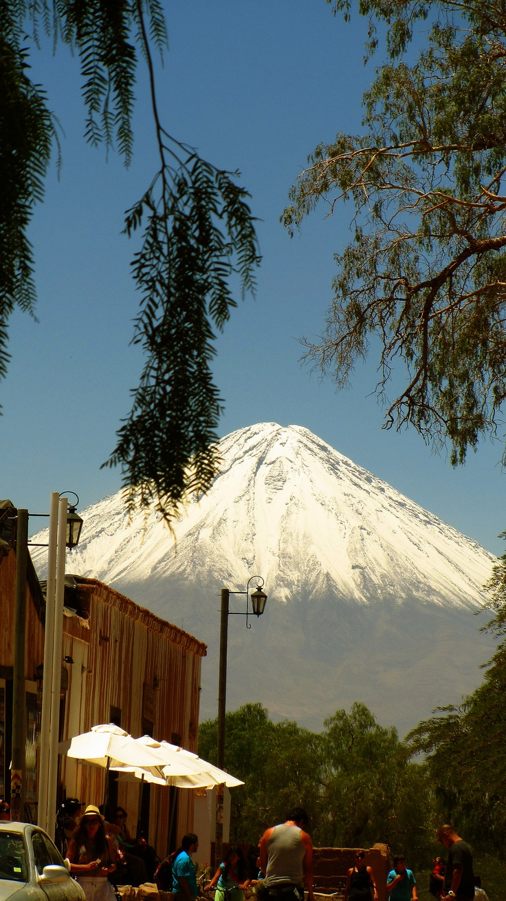 San Pedro de Atacama, Chile. I stayed here for two weeks in summer. Water reserves come from the snow on this volcano.