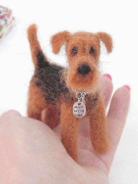 Moppi . Airedale Terrier Needle Felted Fiber Sculpture by Agafil