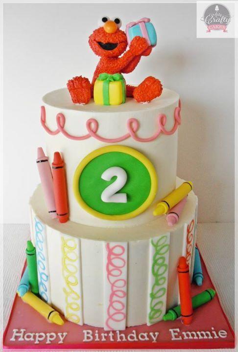 Elmo crayon cake