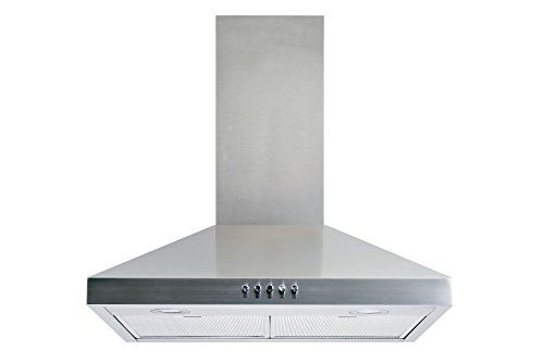 "Winflo New 30"" Convertible Stainless Steel Wall Mount Range Hood with Aluminum Mesh filter, Ultra bright LED lights and Push Button 3 Speed Control  400 CFM Air Flow, 3-Speed fan levels for right amount of suction  Easy Installation: This product come with all parts and accessories up to the ceiling and with a plug  Ultra-quiet operation keeps noise level less than 65DB at high speed  Adjustable Chimney can fit 7.5-8.5 ft ceiling  2 Easy removable, dishwasher safe aluminum mesh filter"