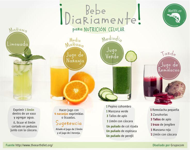 Nutra sus células con estas excelentes bebidas naturales para tomar a diario en la mañana, medio día y tarde. Lo mejor es que las puede hacer usted mismo(a), con ingredientes fáciles de conseguir. #nutricion #verduras #frutas #alimentos #salud #beneficios #tips #saludable #celulas