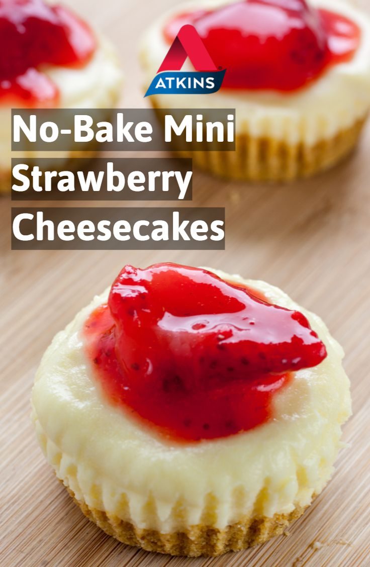No Bake Mini Strawberry Cheesecakes Recipe In 2020 Low Sugar