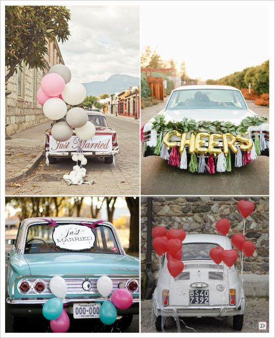 decoration voiture mariage ballons