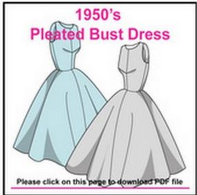1950s style dress with tailored bodice and full skirt - free pdf pattern