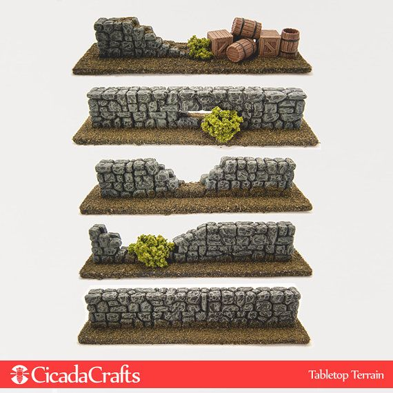 Fieldstone Walls Barriers for Wargaming - Also Perfect for Dwarven Forge D&D Pathfinder Warhammer RPG Game Terrain