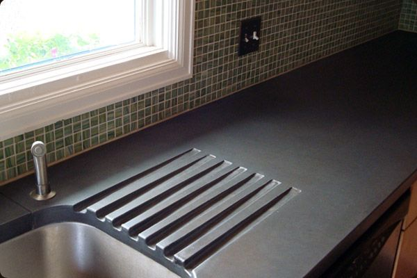 Drain board on cement countertop
