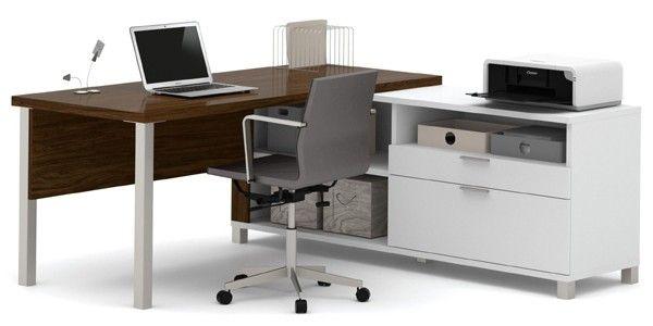 Bestar - Pro-Linea White & Oak Barrel Drawer L-Desk - 120883-30