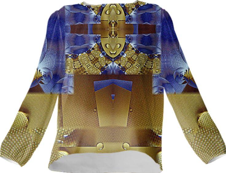 Silk top,annabellerockz,fractal,pattern,geometric,gold blue,annabellerockz from Print All Over Me